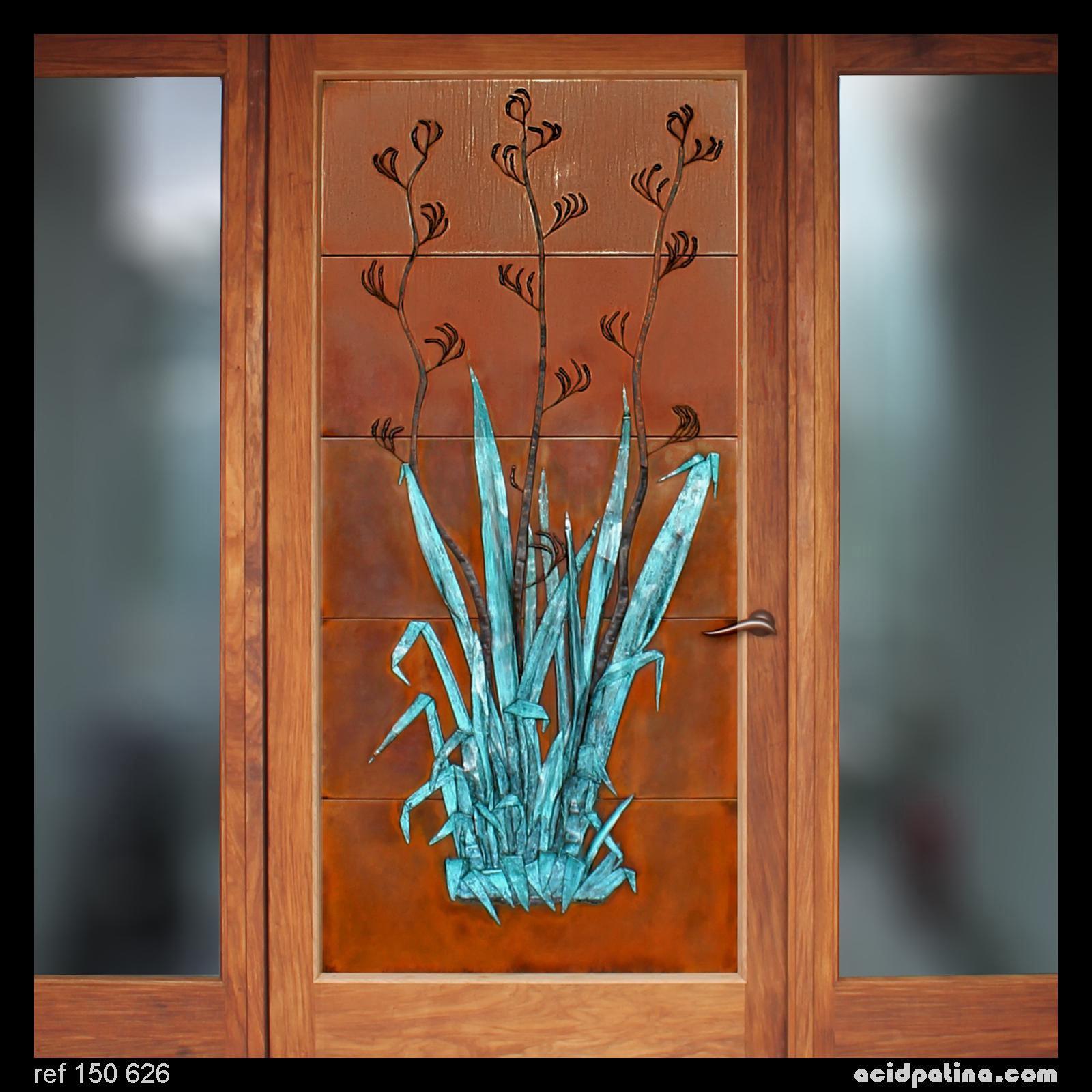 Artistic copper door with sculpture feature & Entrance Doors u2013 Acid Patina